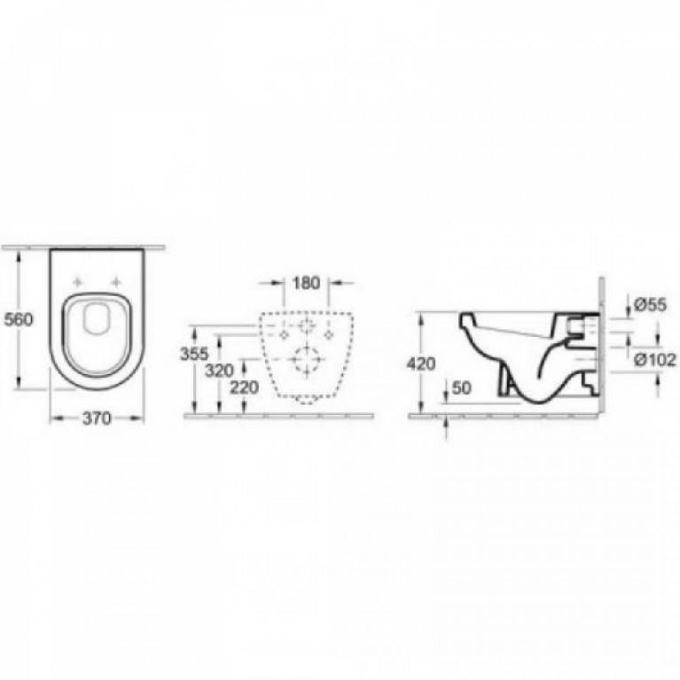ARCHITECTURA унитаз 37*70см, с вертикальным смывом, гориз. выпуск, White Alpin CeramicPlus 568610R1, фото 2