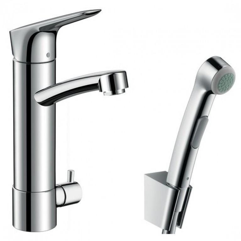 Logis Смеситель для раковины однорычажный с гигиеническим душем и запорным клапаном, хром, фото 1