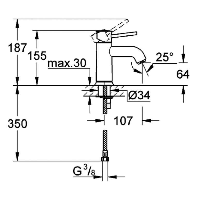 BauClassic Смеситель для раковины, однорычажный на одно отверстие 23162000