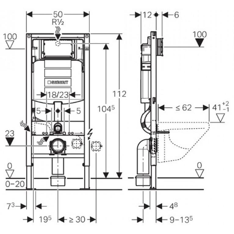 Система инсталляции подвесного унитаза GEBERIT Duofix H112 со встроенным бачком 111.300.00.5