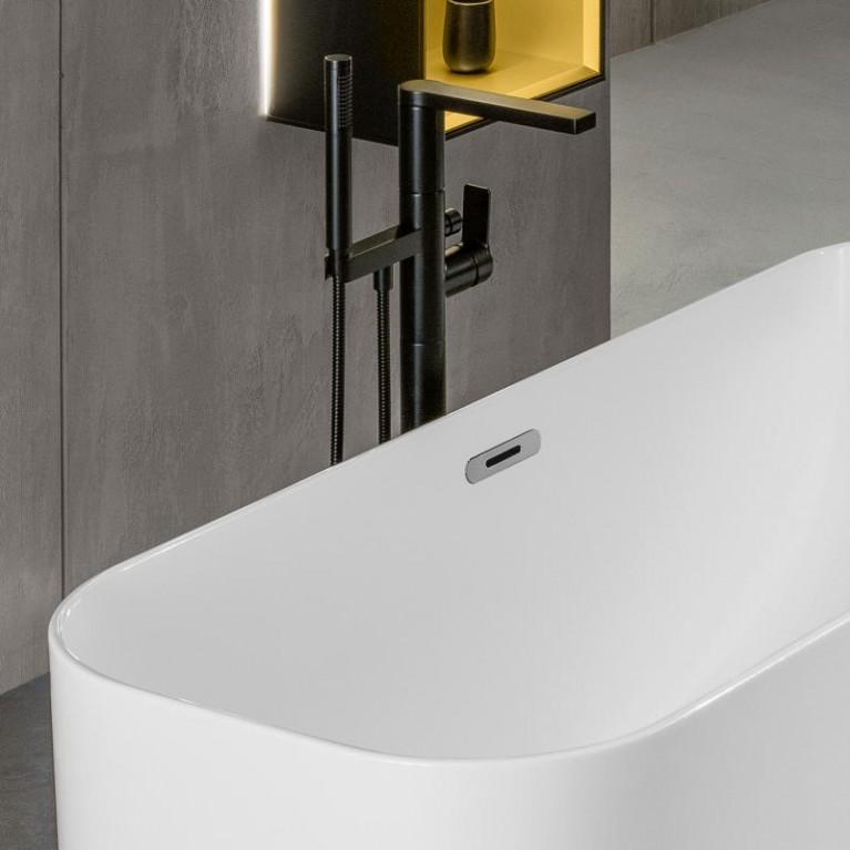 FINION ванна 170*70см, бесшовная,  отдельностоящая, оснащение хром, ф-я Emotion, Design ring, цвет ванны - белый альпин, фото 3