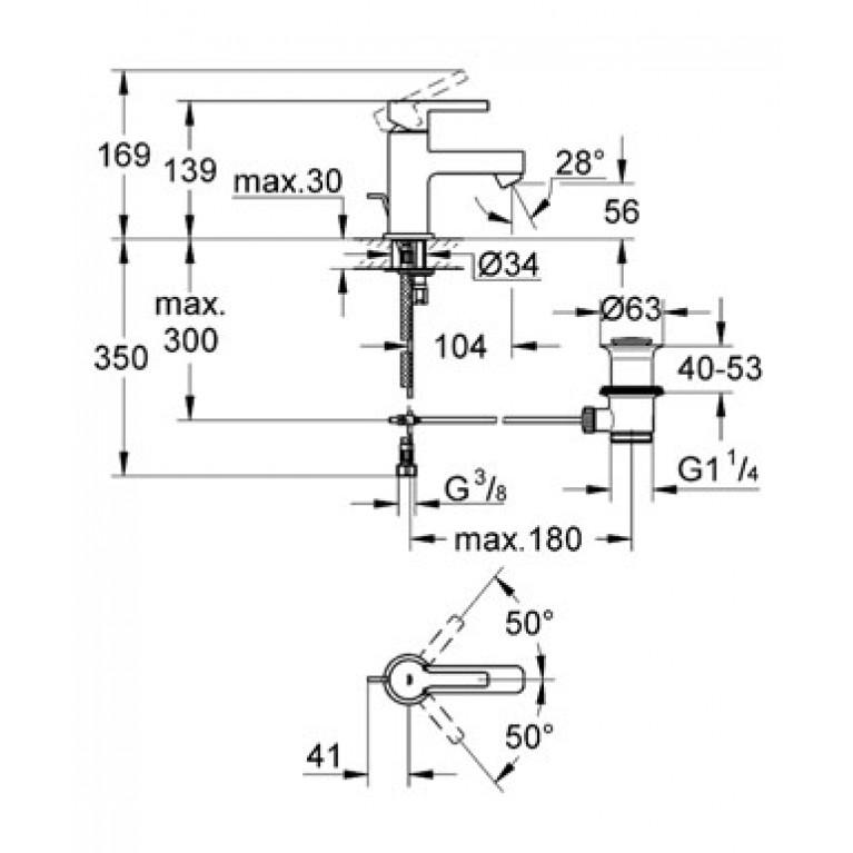 Lineare Смеситель для раковины, однорычажный 32109000, фото 2