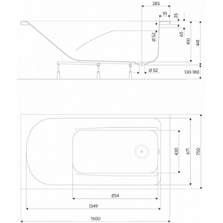 COMFORT PLUS ванна 150*75 см, прямоугольная, с ручками, с ножками XWP1451000, фото 2
