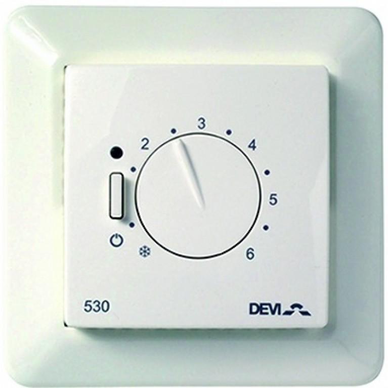 Терморегулятор DEVIreg 530, (+5+45С), механический, датчик на проводе 3м, 85 х 85мм, макс. 15А, белый