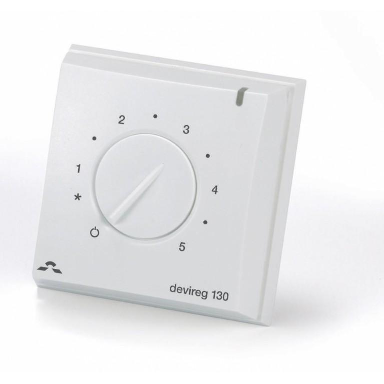 Терморегулятор DEVIreg 130, (+5+45С), механический, датчик на проводе 3м, 82 х 82мм, макс. 16А, белый 140F1010, фото 2