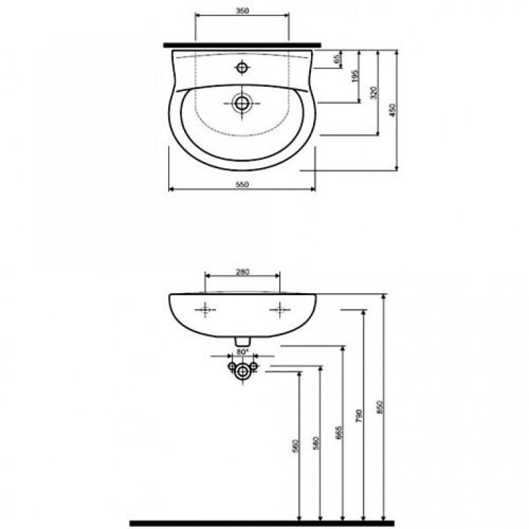 IMPULS умывальник с одним отверстием 55*45 см (пол.) К01955, фото 2