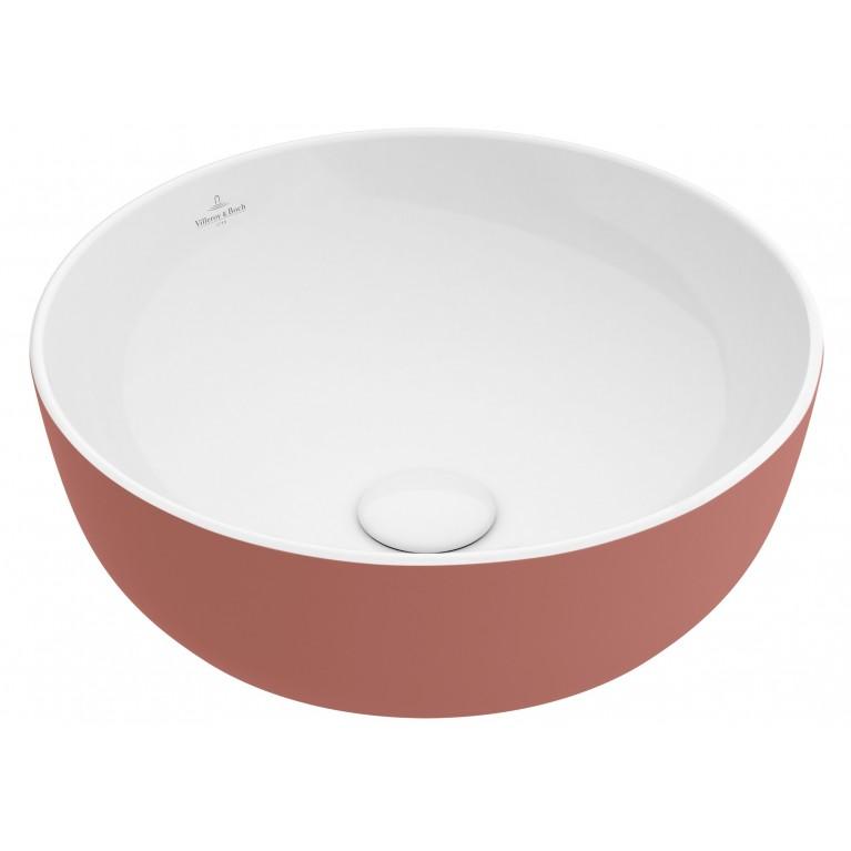 ARTIS умывальник 43см, для уст. на столешницу, без зоны для отв. для монтажа смес., без перелива, цвет розовый, фото 1
