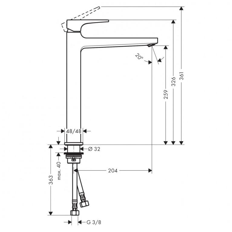Metropol Смеситель для раковины 260, однорычажный, со сливным клапаном Push-Open, для раковины в форме таза, матовый белый 32512700, фото 2