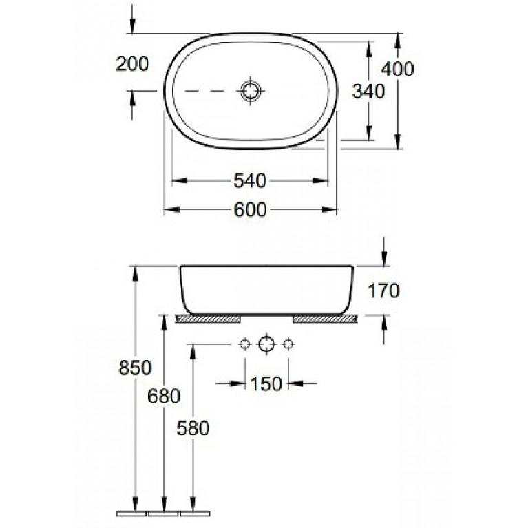 ARCHITECTURA умывальник 60*40см для установки на столешницу 41266001, фото 2