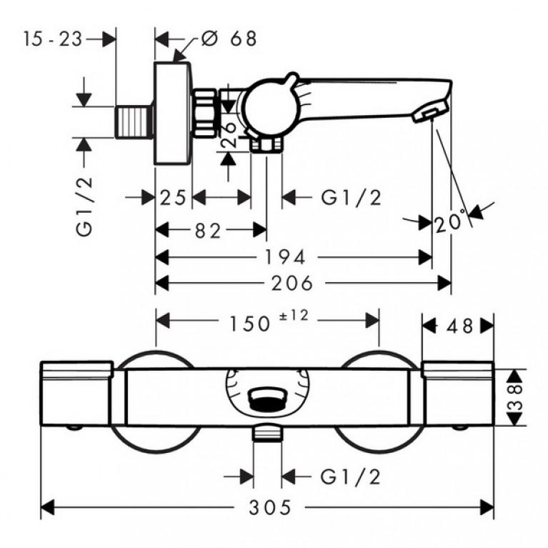 Versostat2 Термостат для ванны, наружная часть 15348000