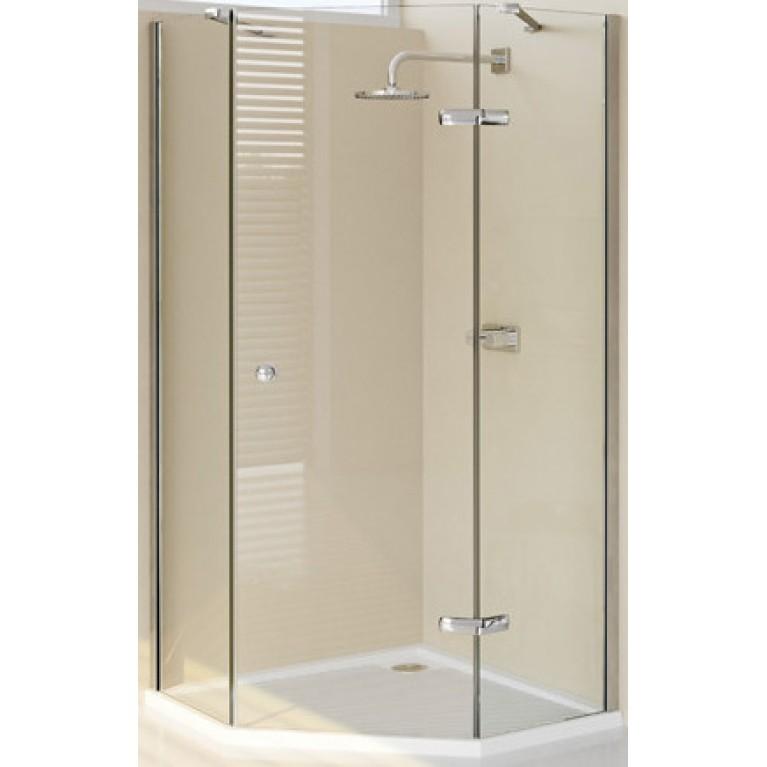 ENJOY ELEGANCE дверь распашная для ниши 90*90см, с частичным обрамлением 5-угольная (проф гл хром,стекло прозр), фото 1