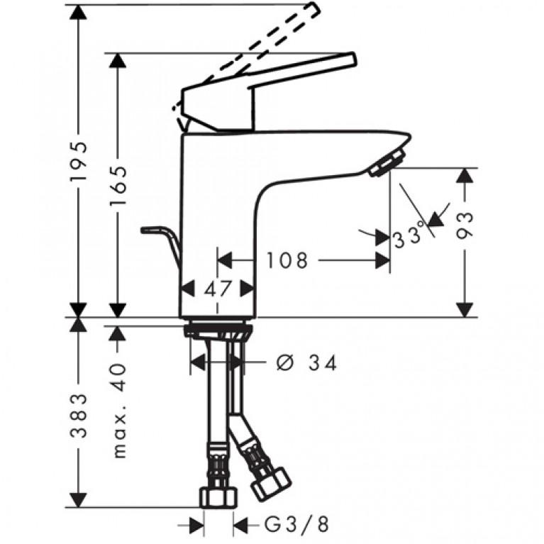 Croma 220 Showerpipe Душевая система + Logis Loop 100 Смеситель для раковины, однорычажный, со сливным гарнитуром, хром 27222000+71151000, фото 5
