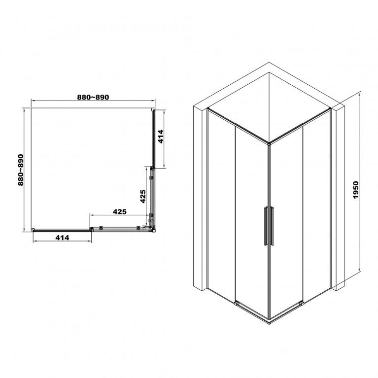 A LÁNY Душевая кабина квадратная 900*900*1950 (стекла+двери), двери раздвижные, стекло прозрачное  6 мм, профиль черный 599-551/1 Black, фото 2