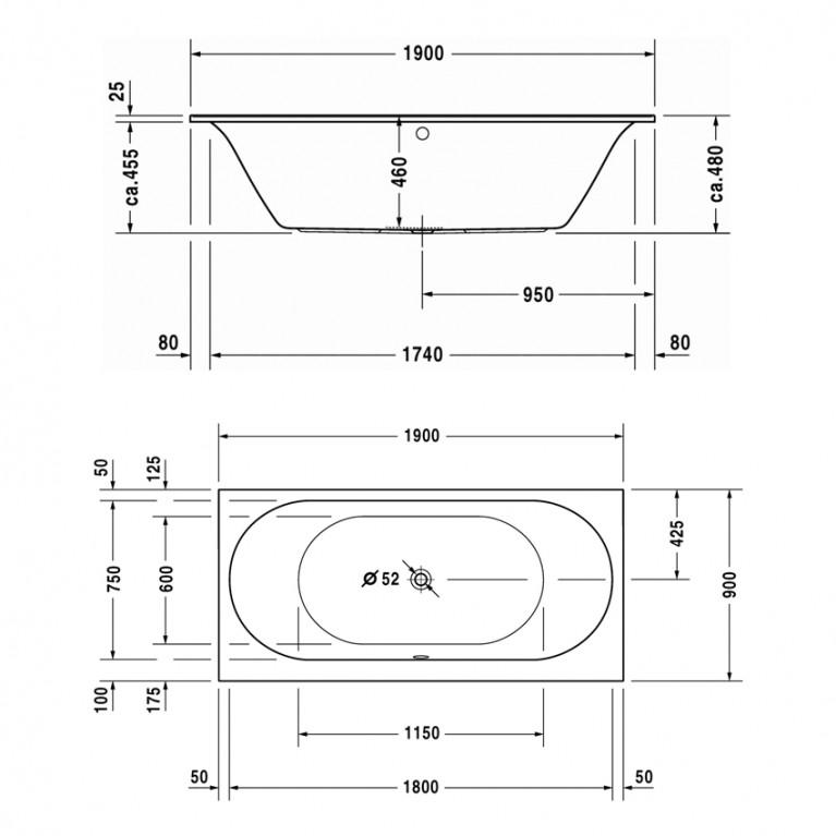 DARLING NEW ванна 190*90*46см, встраиваемая версия или версия с панелями, с двумя наклонами для спины, прямоугольная 700245000000000, фото 2
