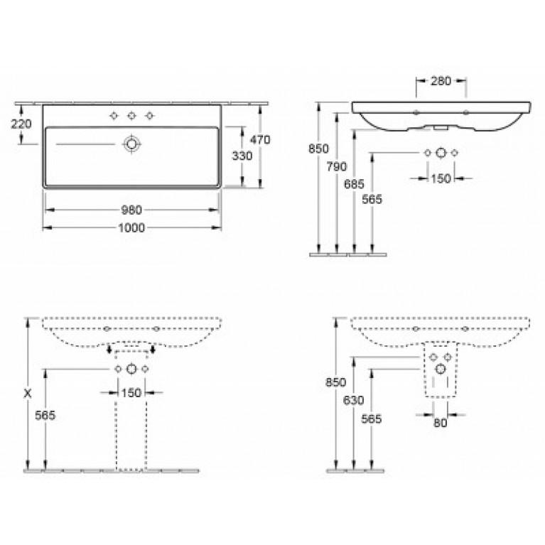 AVENTO умывальник 100*47см для 3-позиционного смесителя, с центр. отв. под смеситель, без перелива, белый альпин 4156A201, фото 2