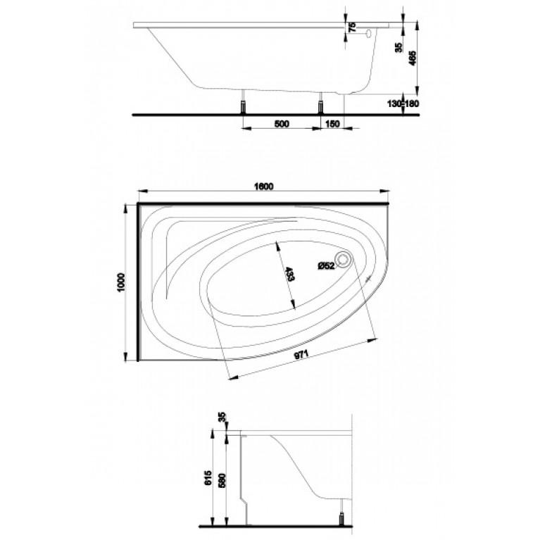 SPRING панель для ванны асим. 160 см PWA3060000, фото 2