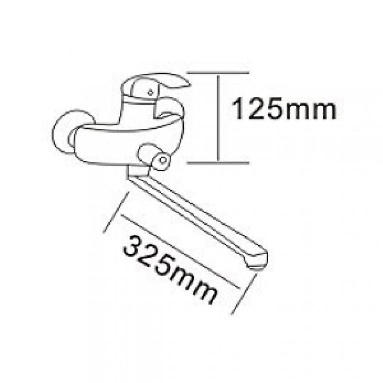 BARON смеситель для ванны однорычажный, переключатель ванна/душ встроен в корпус, L-излив 350 мм , х RBZ014-9B, фото 2