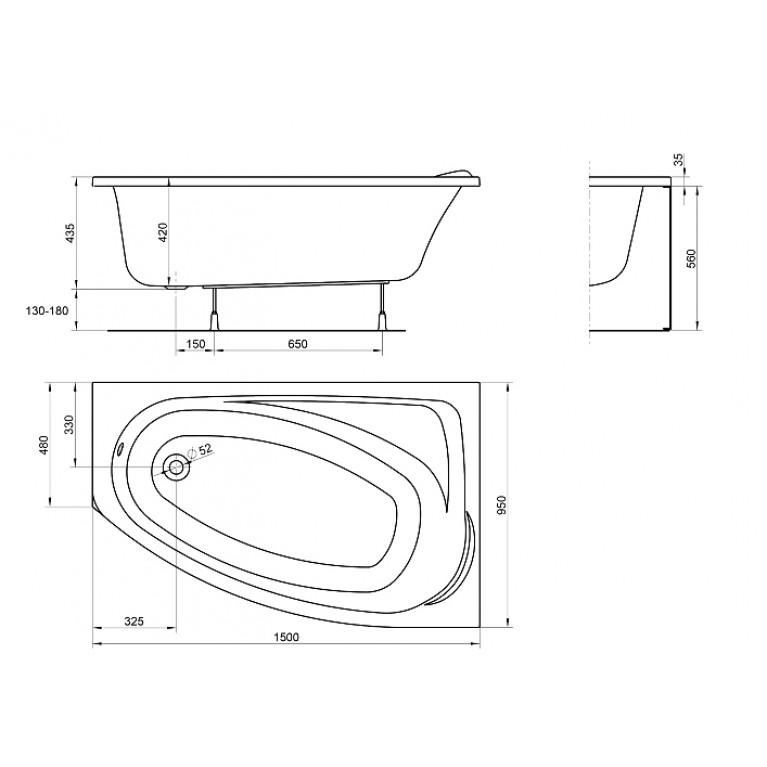 MYSTERY ванна асимметричная 150*95см правая XWA3750000