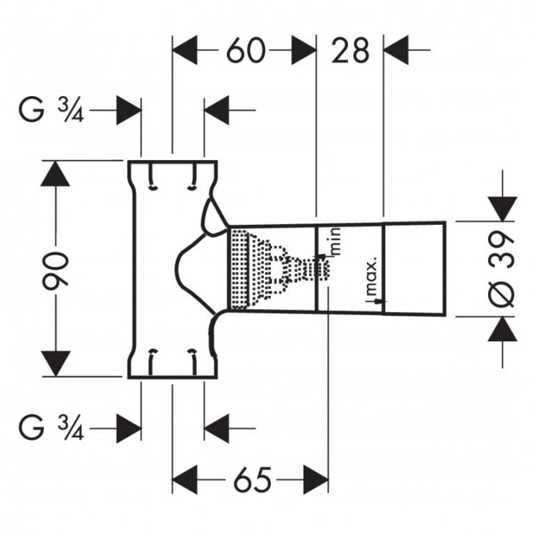 Hansgrohe Скрытая часть запорного вентиля шпиндельная, скрытый монтаж 15970180