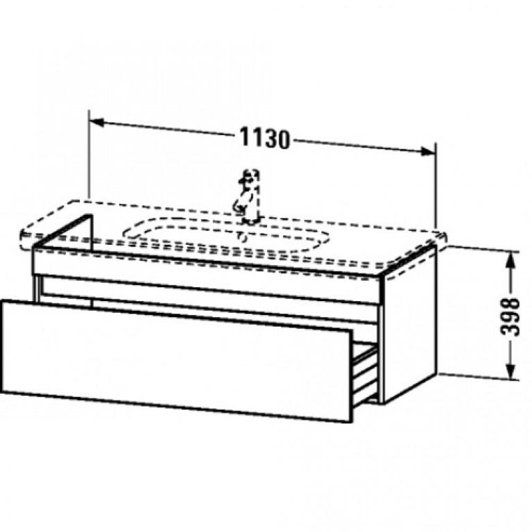 DURASTYLE тумба 113*44,8см, подвесная, для умывальника 232012, с 1м выдвижным ящиком, цвет белый глянец (22) DS 6395 22, фото 2