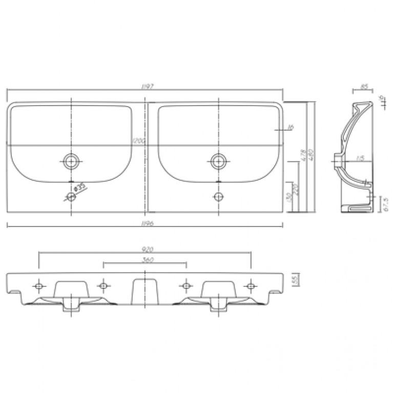 TRAFFIC умывальник мебельный 120*48 см двойной, с двумя отверстиями,с переливом (пол.) L91521000