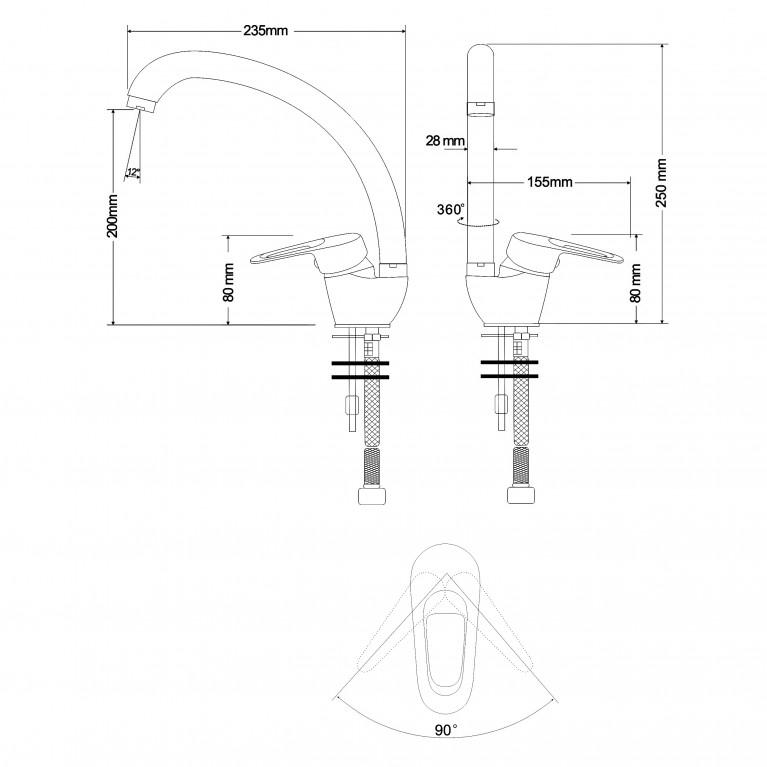 NARCIZ смеситель для кухни однорычажный, ручка сбоку,  хром  40мм RBZ100-8, фото 2