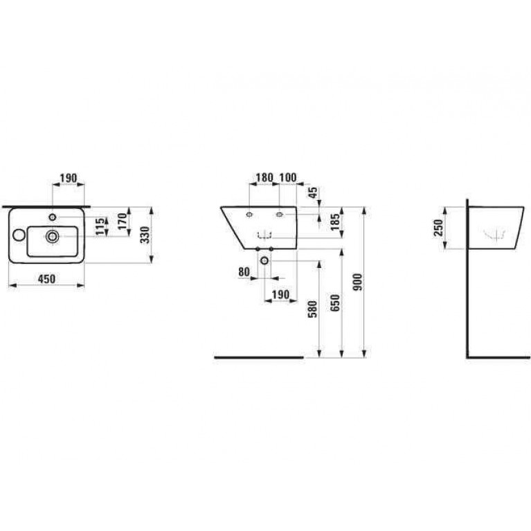 ALESSI DOT мини-умывальник 45*33см, с интегрированным полупьедесталом, с 1м отв. под смес., с покрытием LCC H8159014001041, фото 2