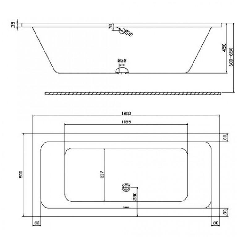 MODO прямоугольная ванна 180*80см, центральный слив, с ножками SN7 XWP1181000, фото 2