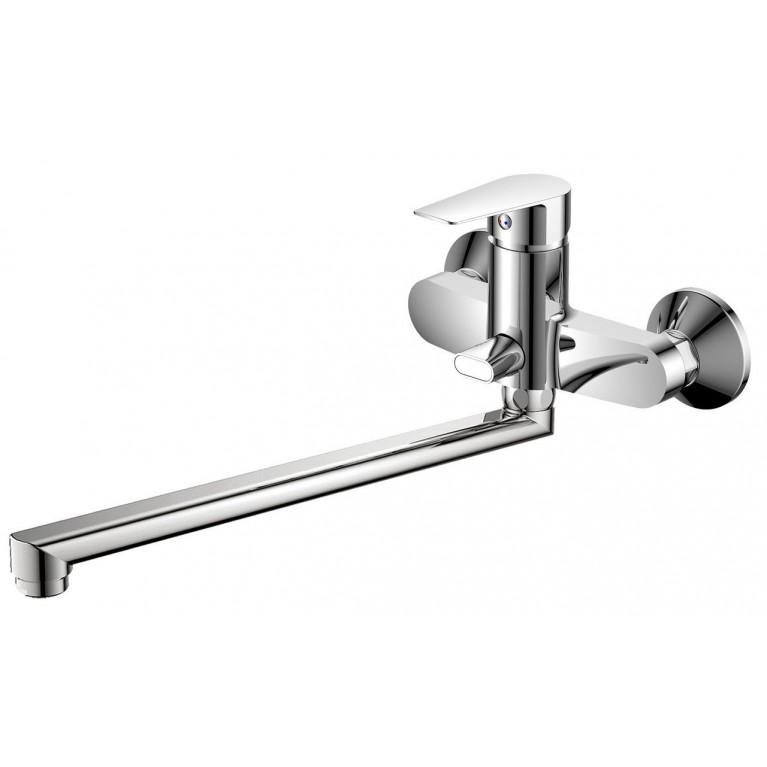 LOTUS смеситель для ванны однорычажный, переключатель ванна/душ встроен в корпус, L-излив + ПОДАРОК