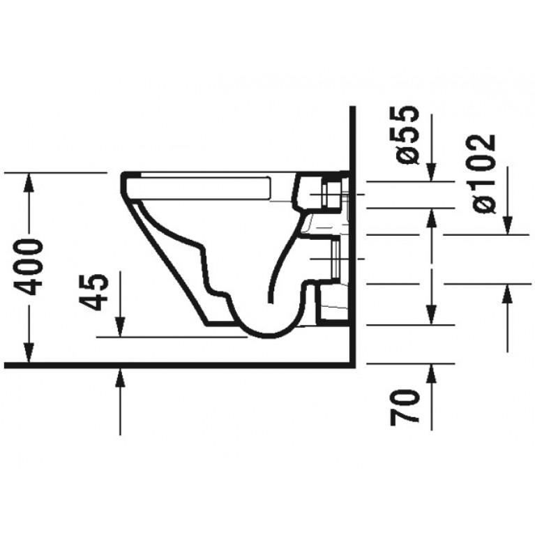 DURASTYLE комплект: унитаз 37*48см, подвесной, с верт. смывом, Rimless, сиденье съемное, с автомат. закрыванием 45710900A1, фото 3