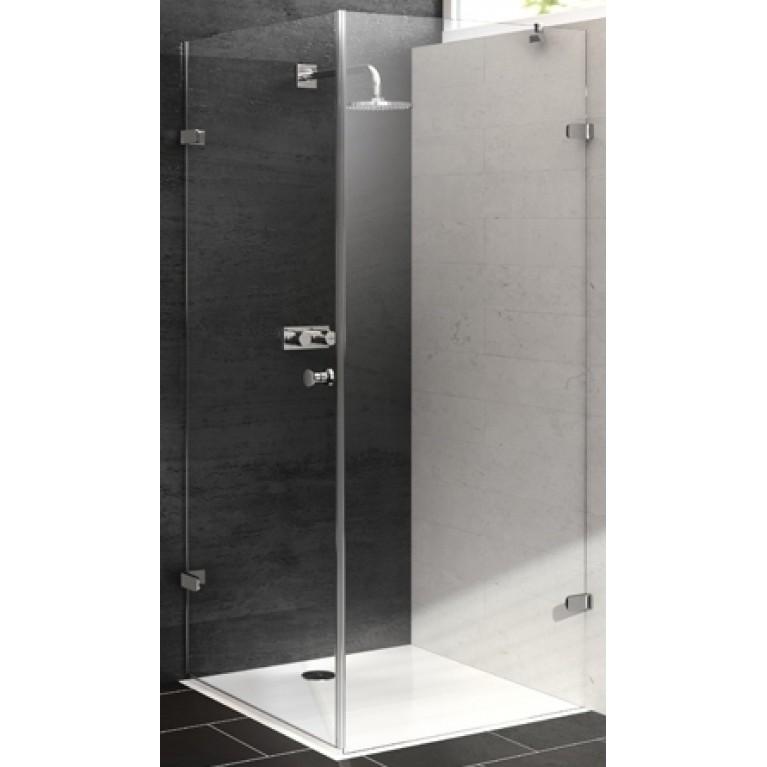 ENJOY ELEGANCE Дверь распашная для боковой стенки 90*200см (глян хром, стекло проз Anti-Plaque, ручка Comfort), фото 1