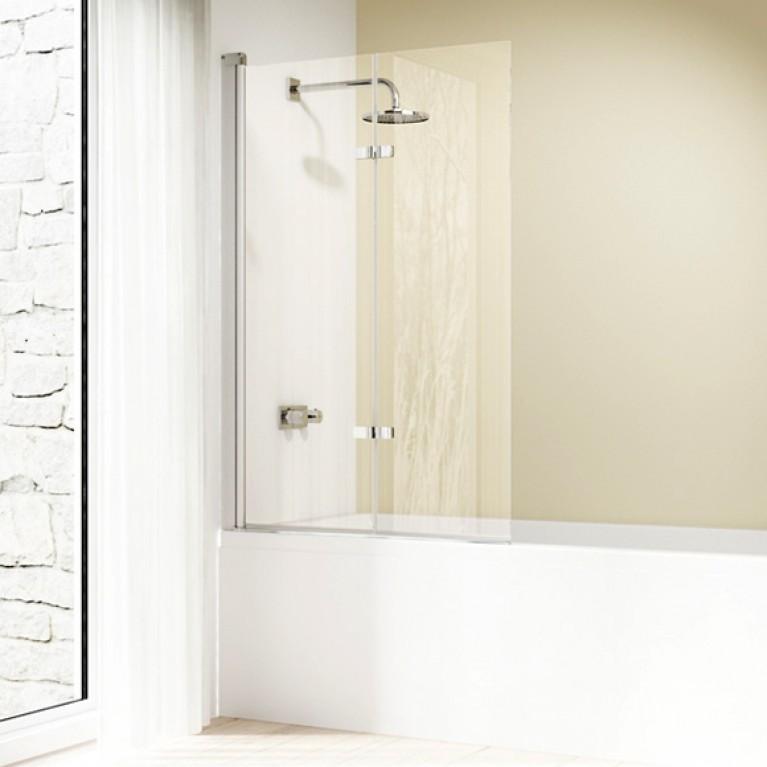 DESIGN ELEGANCE дверь распашная 100*150см (проф глянцевый хром, стекло прозрачное), фото 1