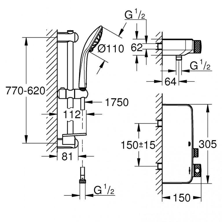 Grohtherm SmartControl термостат с душевым набором 34721000, фото 2