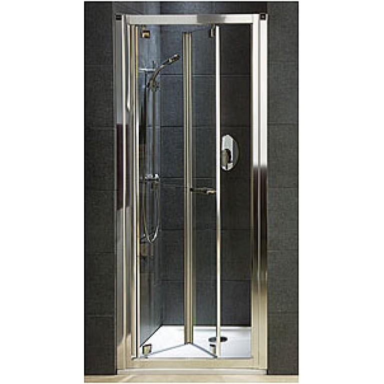GEO 6 дверь Bifold 90см, профиль серебрянный блеск, закаленное прозрачное стекло, фото 1