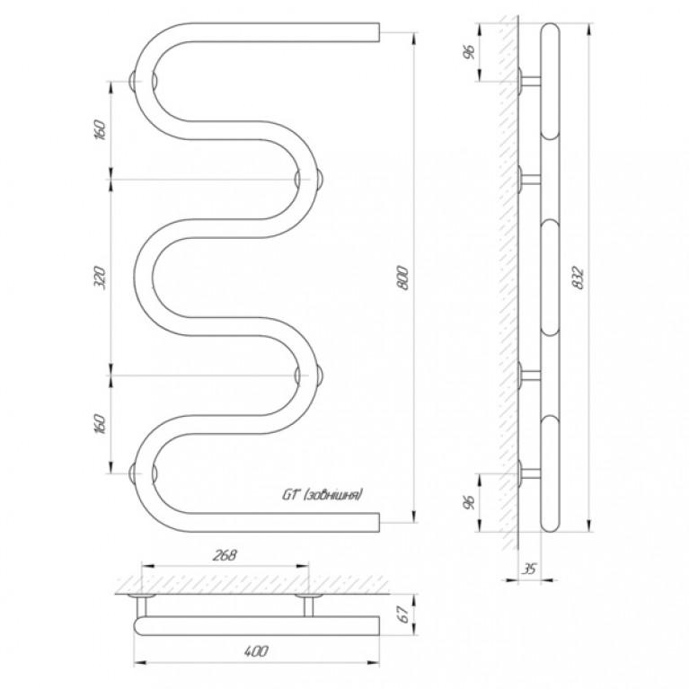 Полотенцесушитель Laris Змеевик 32 РС5 400 х 800 1