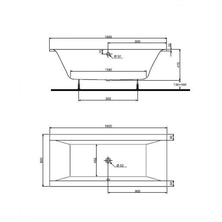 CLARISSA ванна 180*80см, прямоугольная ,с ножками,без панели XWP2680000, фото 2