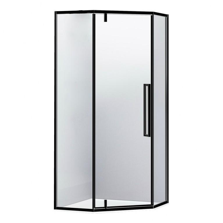 A LÁNY Душевая кабина пятиугольная, реверсивная 1000*1000*2085(на поддоне 135 мм) дверь распашная, стекло прозрачное  6 мм, профиль черный, фото 1