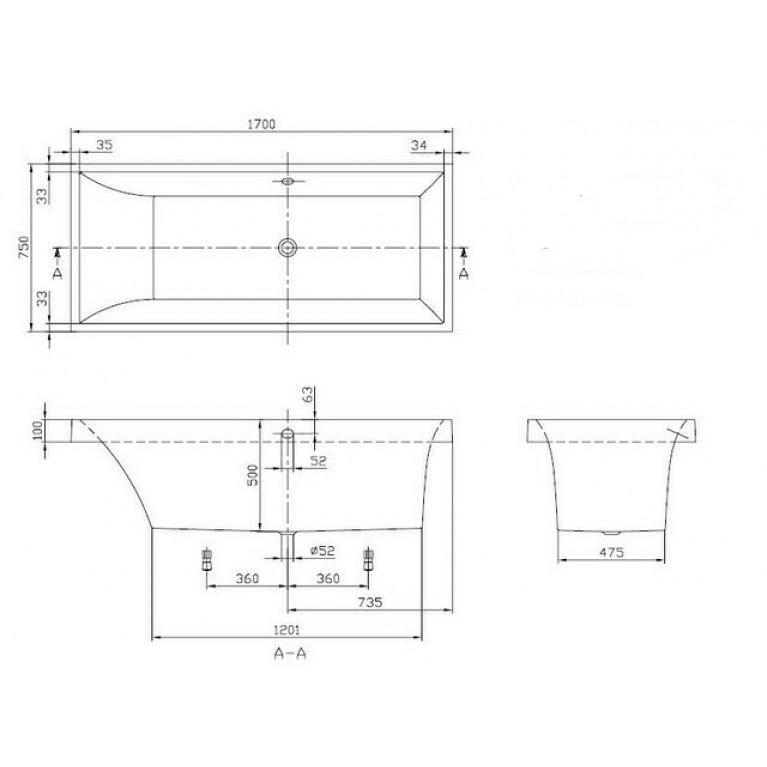 SQUARO ванна 170*75см в комплекте с ножками UBQ170SQR2V-01, фото 2