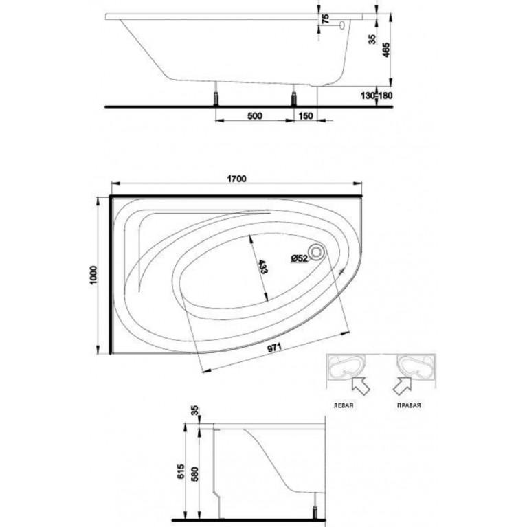 SPRING ванна асимметричная 170*100 см, левая, белая, с ножками SN7 XWA3071000, фото 2