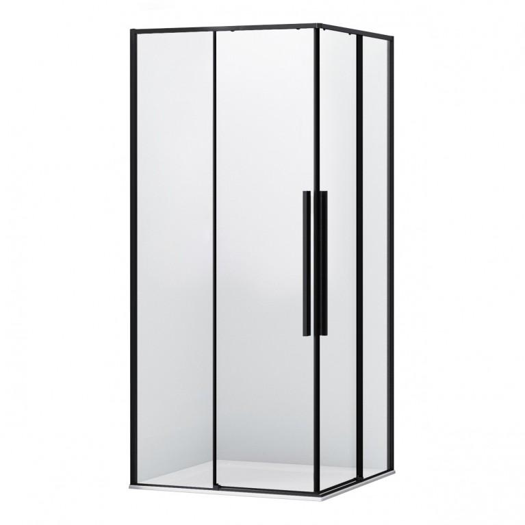 A LÁNY Душевая кабина квадратная 900*900*2085(на поддоне 135 мм) двери раздвижные, стекло прозрачное  6 мм, профиль черный, фото 1