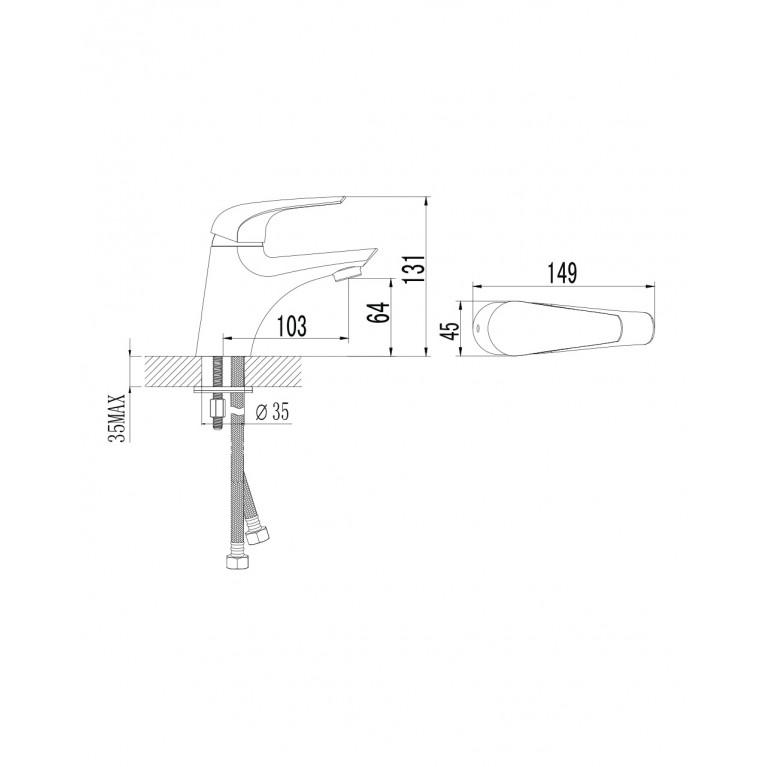 KRINICE смеситель для раковины, хром, 35мм 05110