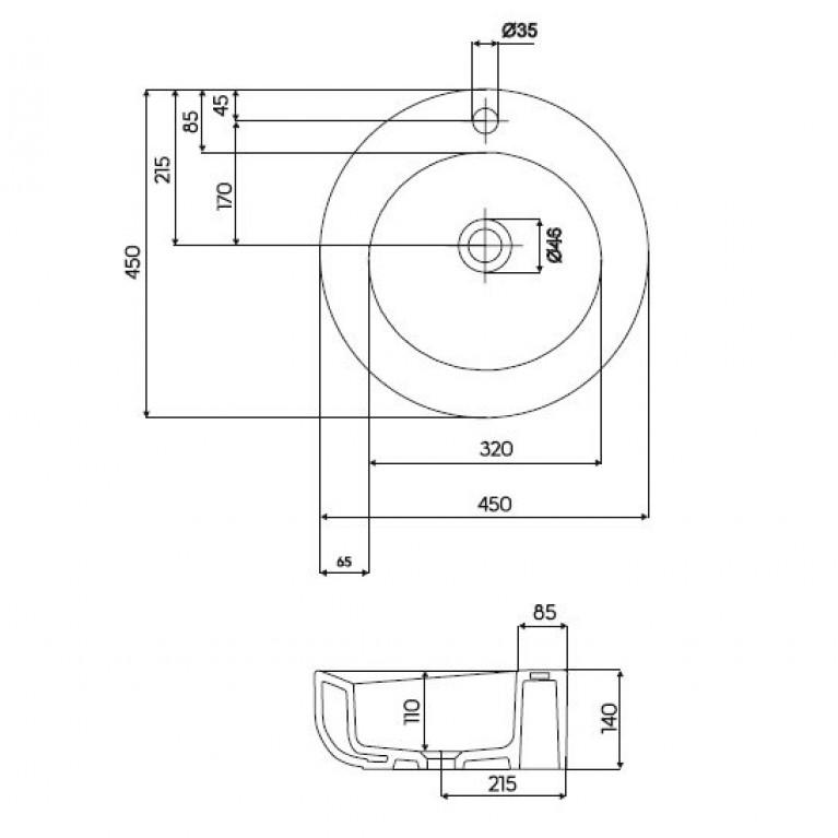 COCKTAIL умывальник встраиваемый на столешницу,круглый с отверстием L31645000