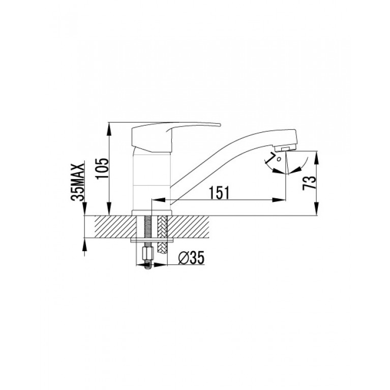 JESENIK  смеситель для кухни, хром, 35 мм 20140-15