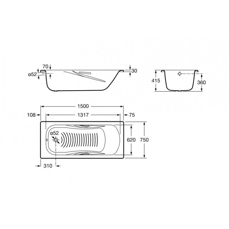 PRINCESS ванна 150*75см прямоугольная, с ручками, без ножек A220470001, фото 2