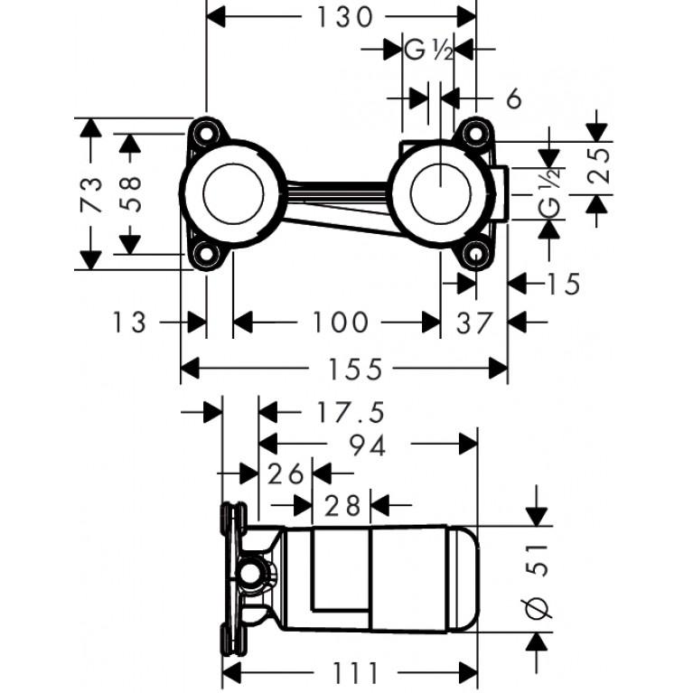 Hansgrohe Скрытая часть для однорычажного смесителя для раковины, ½' 13622180, фото 2