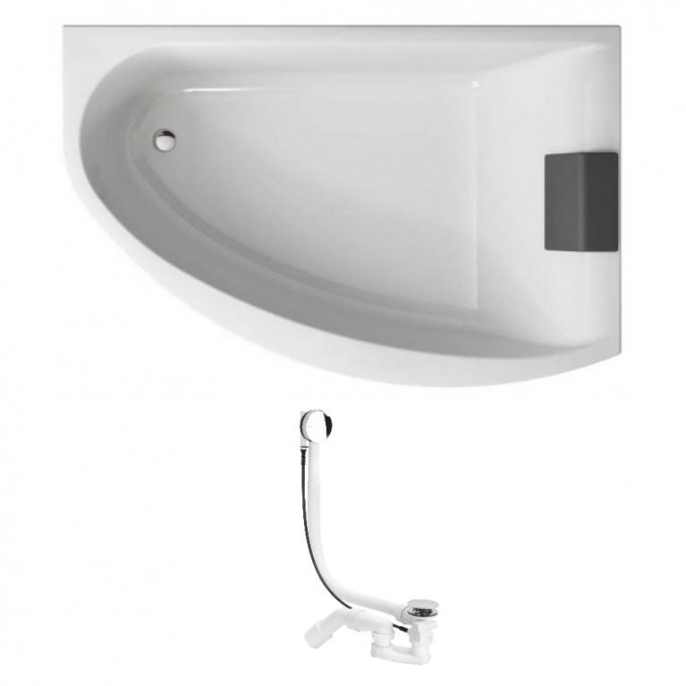 MIRRA ванна асимметричная 170*110 см, правая, с ножками SN8, элементами крепления и подголовником + сифон Simplex  для ванны автомат 560мм, фото 1