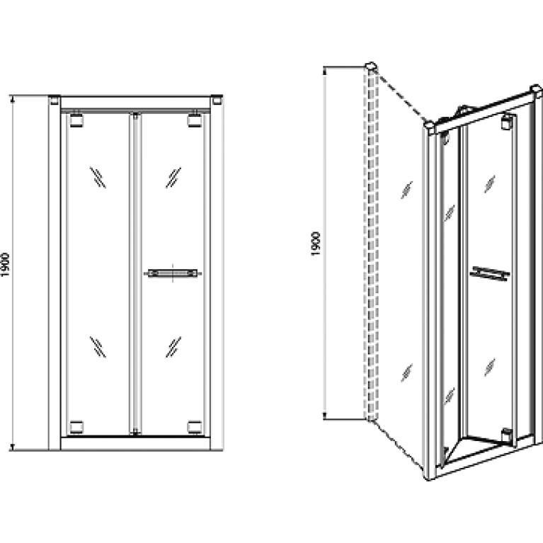 GEO 6 дверь Bifold 90см, профиль серебрянный блеск, закаленное прозрачное стекло GDRB90222003, фото 2