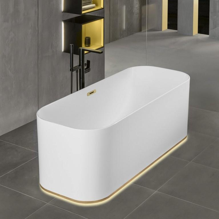 FINION ванна 170*70см, отдельностоящая, бесшовная, ф-ия Emotion, подсветка, оснащение золото, цвет ванны белый альпин, фото 5