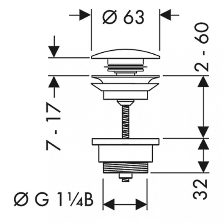 Hansgrohe Сливной набор для раковины PushOpen, 1¼' 50100000, фото 2