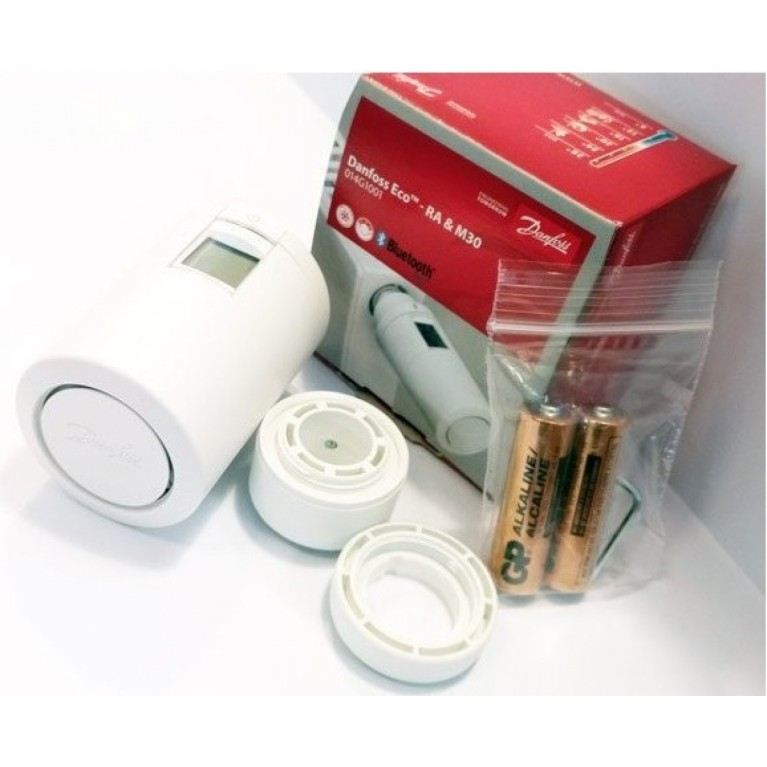 Danfoss Умная термоголовка Eco, Bluetooth, резьба М30 х 1.5, 2 x AA, 3V, белая 014G1001, фото 2